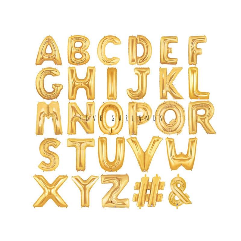 14 metallic gold letter balloons gold mylar letter for Gold letter balloons