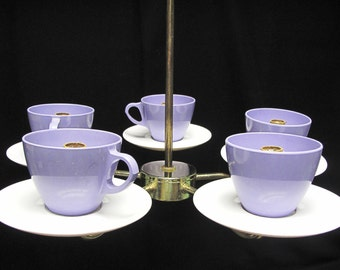 Vintage Truly Unusual Kitschy Coffee Cup Chandelier - Brass and Melamine
