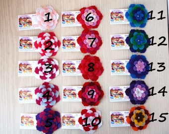 Flower Barrettes, Pink/Red/Blue/Purple, Recycled Felt 5-Layered-pick one