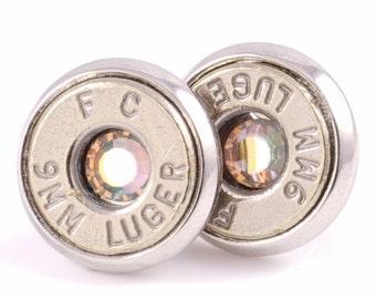 Real Bullet Stud Earrings 9MM Nickel Bullet Earrings with Clear Glass Crystals. Bullet Jewelry.