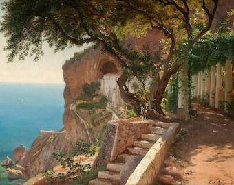 Carl Frederic Aagaard: View to the Amalfi Coast. Fine Art Print/Poster. (003162)