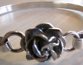 Sterling Silver Rose Bangle Bracelet from Mexico