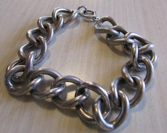 Sterling Silver Large Hollow Link Bracelet
