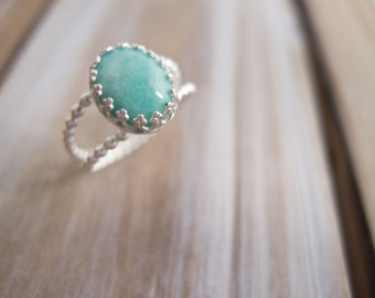 Amazonite Ring, Sterling Silver Rings for Women, Gemstone Rings For Women, Gift For Her, Spring Jewelry, Sundance Style Jewelry, Boho Ring