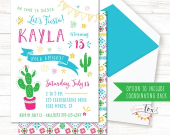 Fiesta Birthday Invitation / Cactus Birthday Invitation / Cinco de Mayo Invitation / Mexican Birthday Invitation / Teens / PRINTABLE