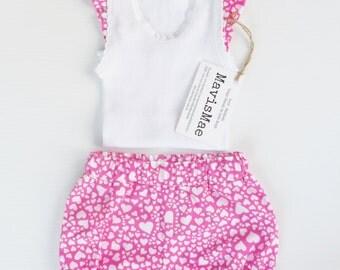 Nappy Cover Shorts & Singlet Set - I Heart U Bloomers