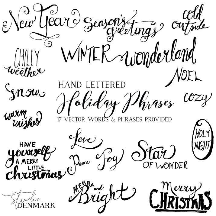 Vector Holiday Words Amp Phrases Christmas Card Greetings