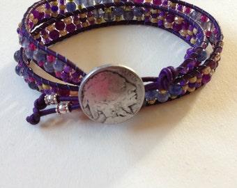 Gemstone and Leather Wrap Bracelet
