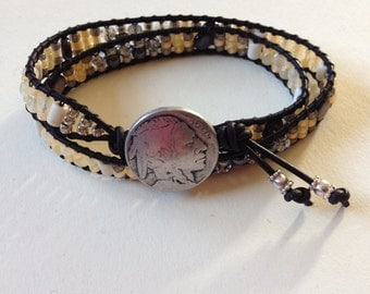 Gemstone and Leather Wrap Bracelet