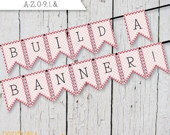 DIY Custom Banner - Red Picnic Check - Printable A-Z, 0-9 5x7""