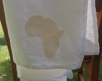 Dish towel with Africa accent shape | Africa adoption dish cloth