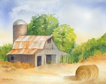 Watercolor Painting Hay Barn 8x10 Print Wall Art