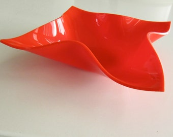 Mid Century Modern Red Plastic Nut Bowl
