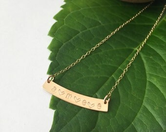 Personalized curved bar necklace // hand stamped // gold filled // Sterling silver
