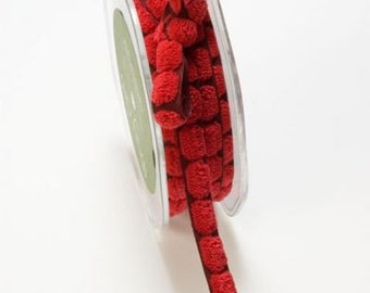 May Arts Red Chenille Dots On Burgandy Ribbon 3/8. Crafting Supplies, Gift Wrapping, Upholstery.