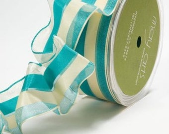 """May Arts Teal & Ivory Ribbon 1.5"""" Solid/Sheer Stripes With A Wired Edge. Crafting Supplies, Gift Wrapping, Upholstery."""