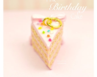 Pink Birthday Mini Cake Earrings Charm Necklace Miniature Food Jewelry Handmade Gift Girl Sterling Silver