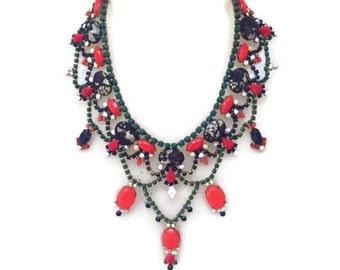 YULETIDE spring summer 2016  hand painted rhinestone statement bib necklace