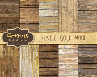 Rustic Gold Wood Digital Paper Backgrounds, Gold Paint Wood textures, digital scrapbook paper, wood backdrops, instant download