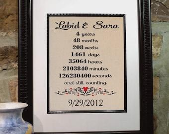 Fourth Anniversary Gift - Personalized Burlap Art - Love Anniversary Gift - Gift for Wife and Husband - Bridal Shower - Wedding - (ana107-4)