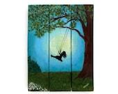 My Favorite Swing, Original painting, Reclaimed wood, Mother's Day Gift, Wall Art, OOAK,  Pallet Art, Swinging Girl