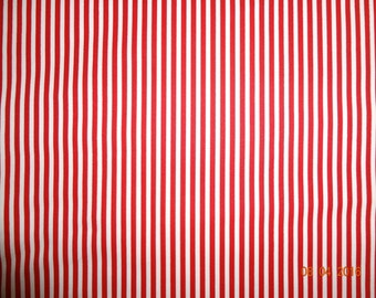 "1 5/8 Yard of Red & White Striped Cotton Fabric - Approx. 59"" wide"