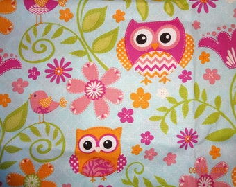 Owl & Bird Floral Print Cotton Fabric Remnant