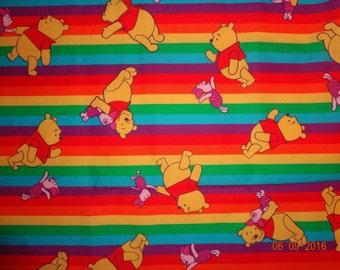 1 3/4 Yards Vintage Rainbow Pooh Disney Springs Industries - #9454 - Winnie The Pooh & Piglet
