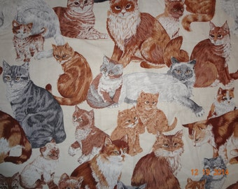 "Fat Quarter Cat Kitten Print Fabric - Approx 18"" x 22"""