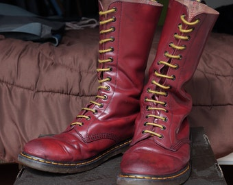 Vintage leather Dr.Martens cherry red oxblood 14 hole eye eyelet punk skinhead boots uk11 us12