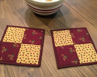 Kitchen Potholders / Quilted Potholders / Country Decor / Handmade / Item #1441