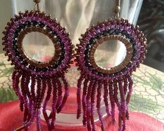 Fringe Deep Purple and Brass Earrings