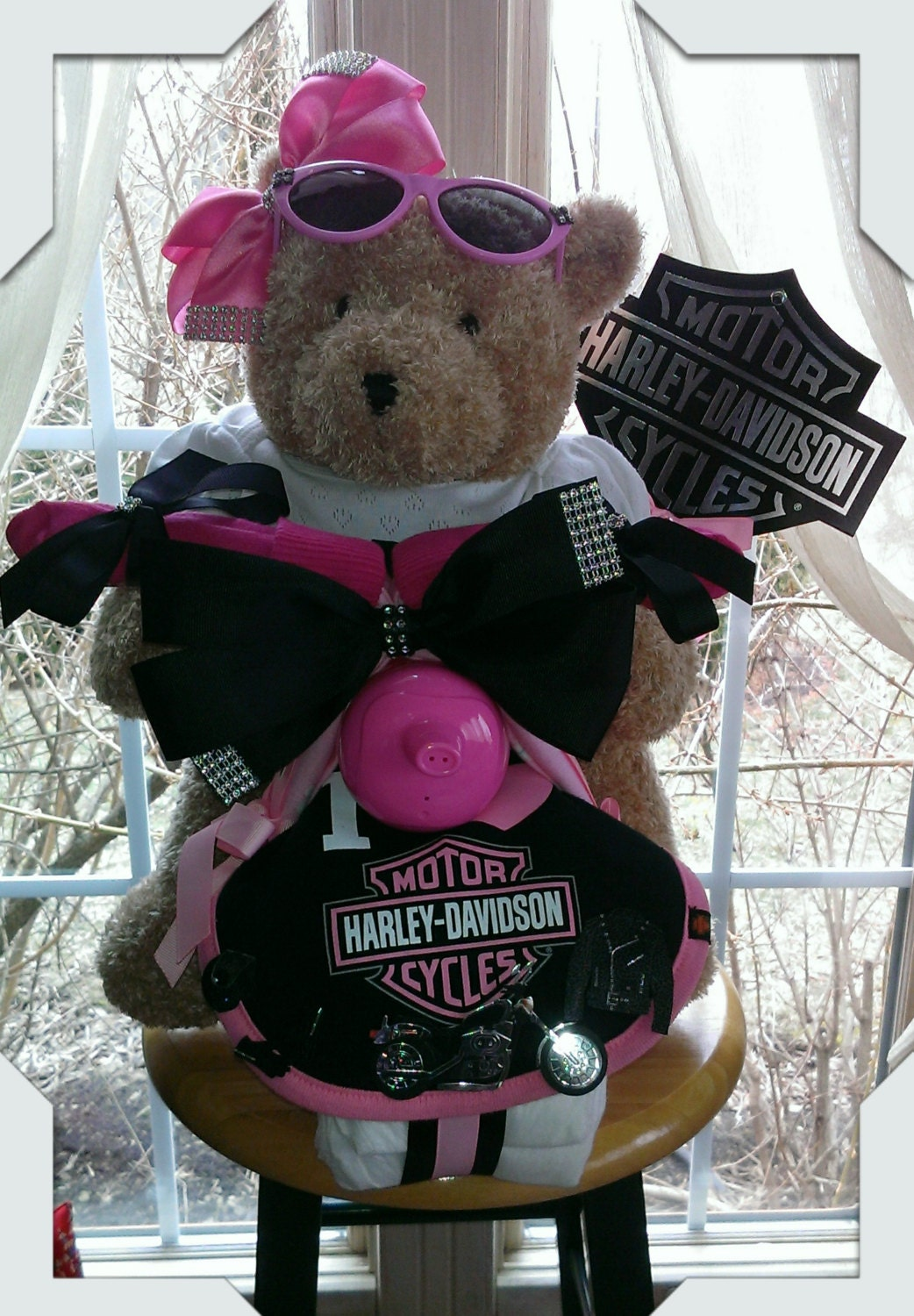 Pink Black Harley Davidson Theme Baby Girl Motorcycle Diaper