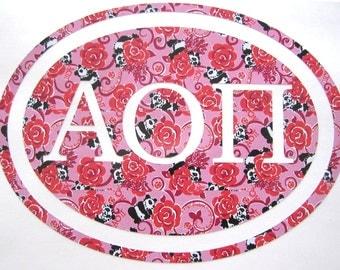 Alpha Omicron Pi Sticker Decal Sorority - Great Initiation, Bid Day or Big Little Gift!