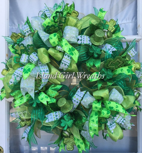 deco mesh st patrick 39 s day wreath st patrick 39 s. Black Bedroom Furniture Sets. Home Design Ideas