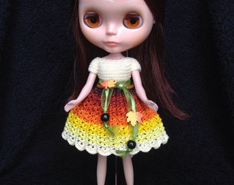 Handmade Crochet Blythe Dress - Autumn Dress - Yellow, Brown & Orange