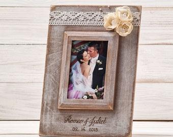 Personalized Wedding Frame Rustic Wedding Picture Photo Frame Personalized Wedding Gift