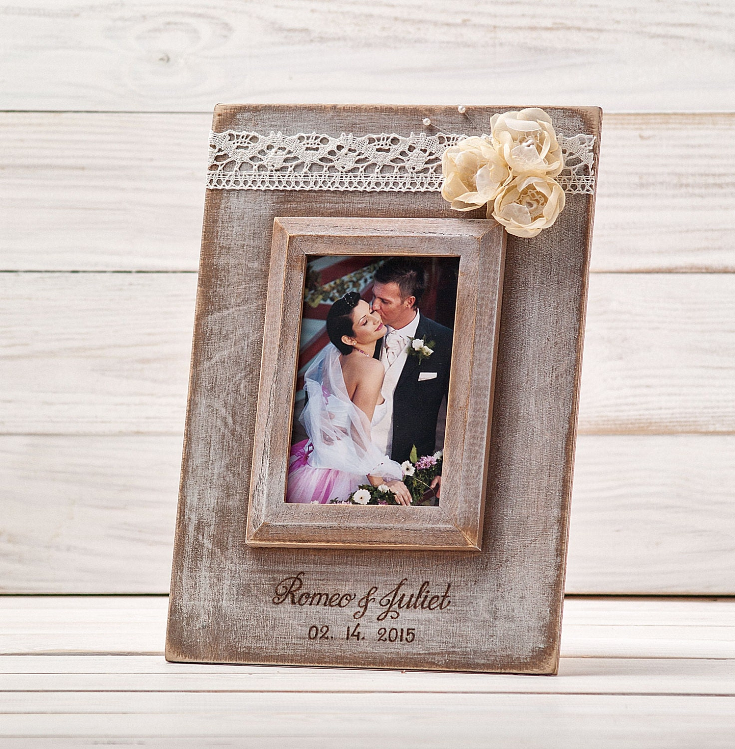 Wedding Frame: Personalized Wedding Frame Rustic Wedding Picture Photo Frame