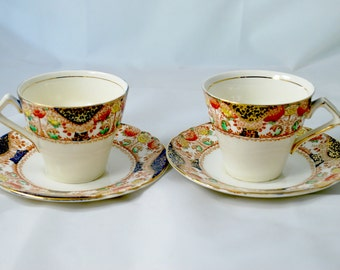Cobalt tea cups and saucers by Myott and Son , corona pattern and art deco style