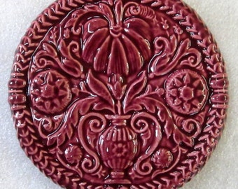 Decorative ButterMold Art Tile -- Ceramic Accent Tile glazed in Royal Ruby Glaze, Floral Ceramic Tile, Antique Buttermold