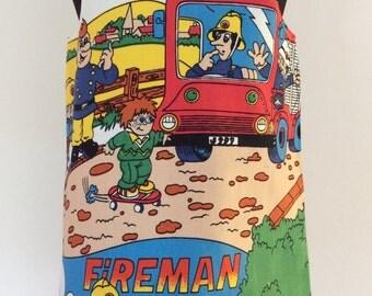 Girls a-line dress, aline dress, pinafore, pinafore dress, fireman Sam, boys dress, fire engine, fireman dress, girls clothing, childrens