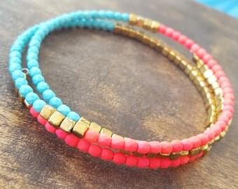 Boho bracelet, Memory wire bracelet, wrap bracelet, stackable bracelet, firepolish beaded bracelet, neon pink wrap bracelet