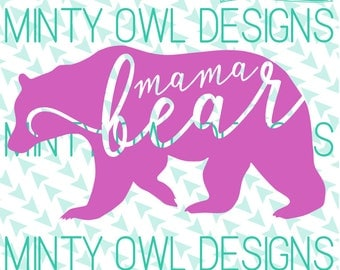Cricut SVG - Mama Bear - Mama Bear Cut File - Mama Bear TShirt - Mama Bear Decal - Baby Bear - Silhouette - Cutting Files