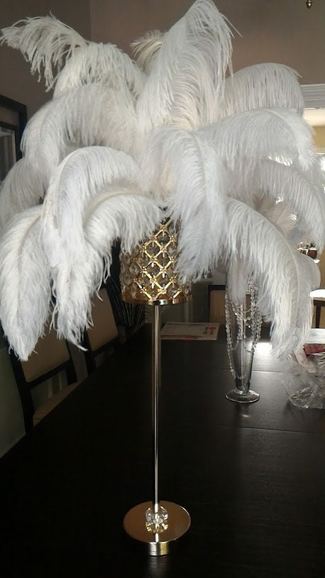 Tall gold crystal globe stand ostrich feather