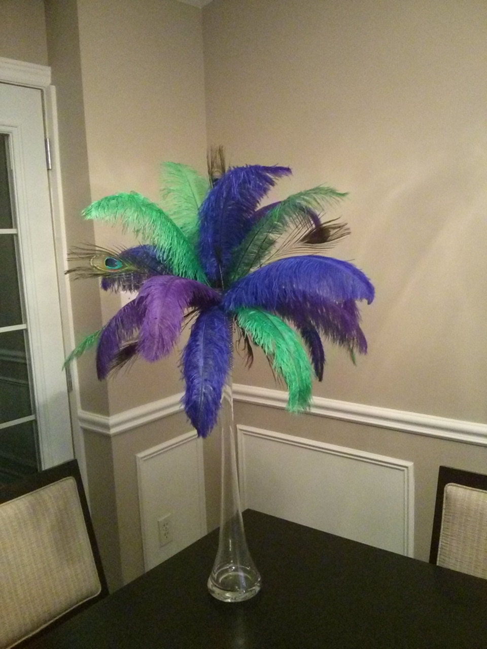 Peacock and ostrich feather centerpiece for by featherology