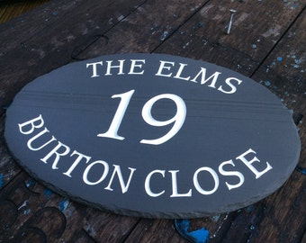 Large Handcut Deep Engraved Slate Oval House Sign