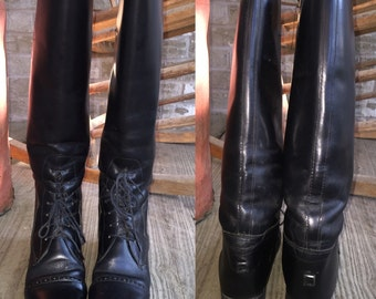 Leather English Riding Boots, Cavelier Brand, Amazonas Comfort Heel, Oxford Style, Size 5S