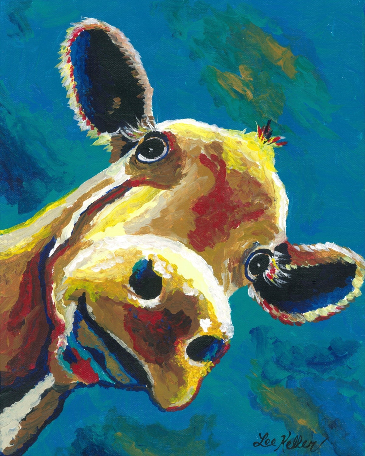 Colorful cow art print from original cow on canvas painting for Cow painting print