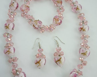 Lamp Work Pink Heart Bead Necklace, Bracelet and Earring Set