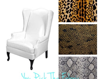 Custom Wingback Chair - Made to Order- Velvet Animal Prints
